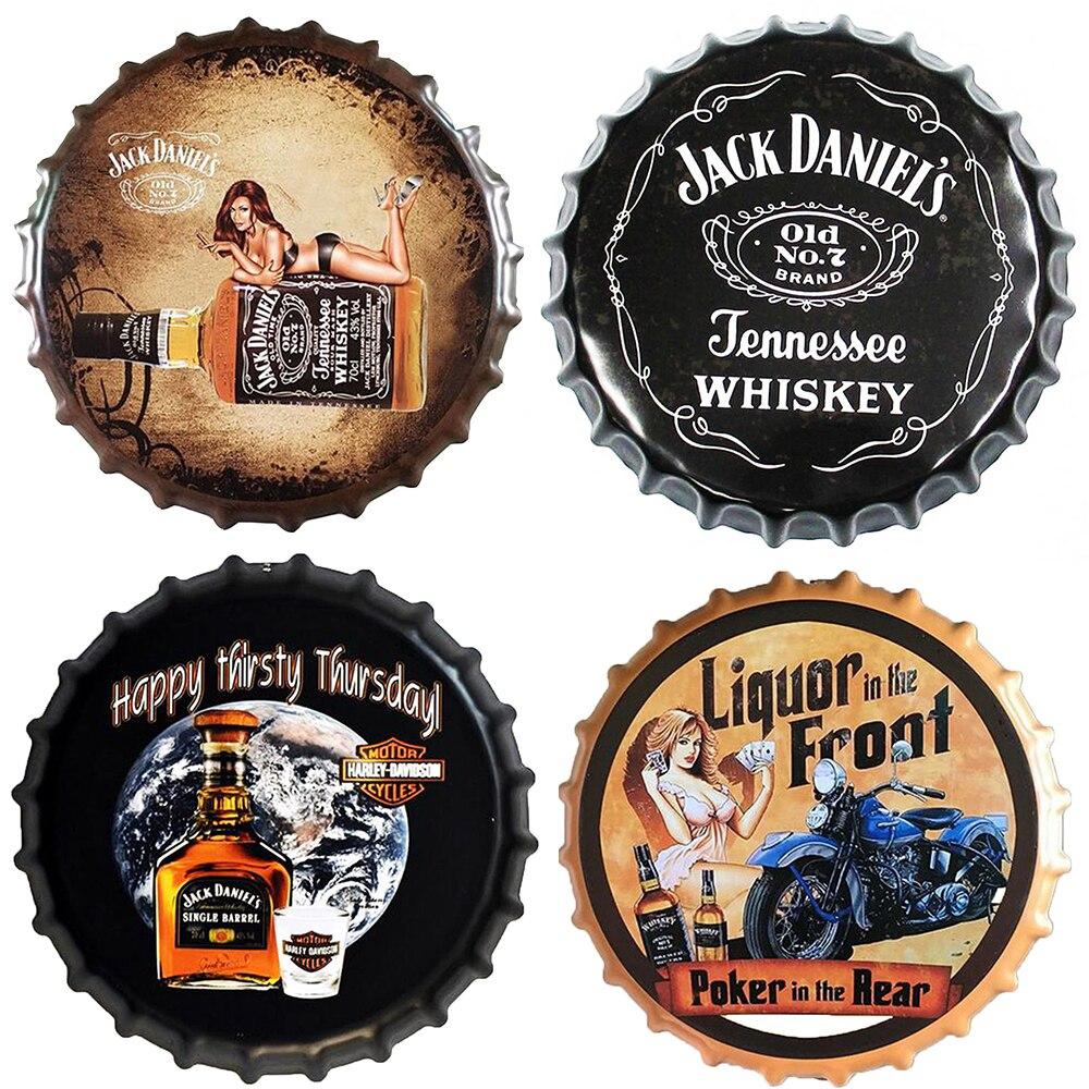 Tampa de Garrafa De cerveja Uísque Placa Placa Do Vintage Metal Tin Signs Bar Café Pub Decoração Da Parede de Nostalgia Retro Rodada Placas de Cartaz 35CM