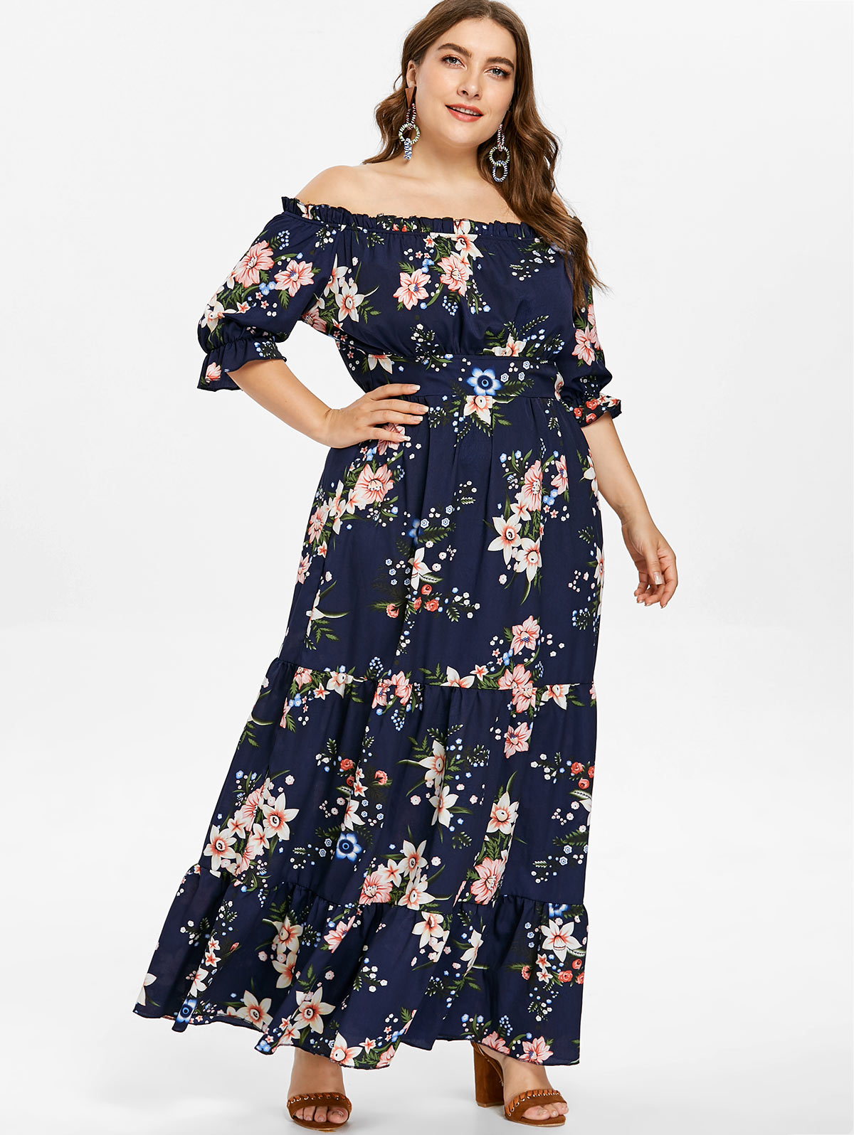 0f53bb0516 Flower Print Maxi Dress With Sleeves