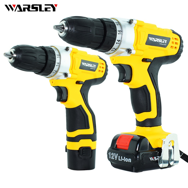 12v Electric screwdriver Cordless Drill 2 battery power tools Mini Drill screw gun rechargeable screwdriver give Gift + Toolbox