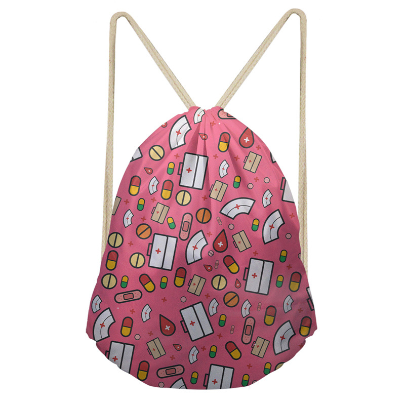THINK Cartoon Pills Syringes Prints Nurse Drawstring Bags Polyester High-Quality School Girls Backpacks Travel Casual Mochila