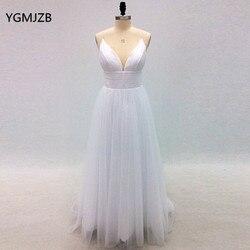 Vestido De Noiva Simple Beach Wedding Dress 2018 A-Line V Neck Spaghetti Straps Sexy Boho Backless White Bride Dress Bridal Gown 2