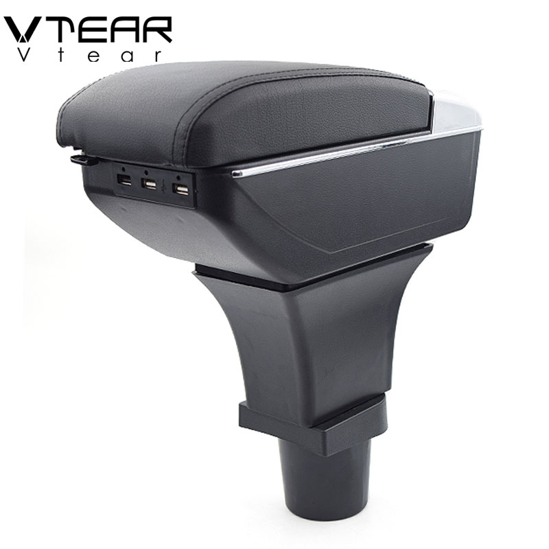 Vtear For Kia Picanto armrest box USB Charging heighten Double layer central Store content cup holder