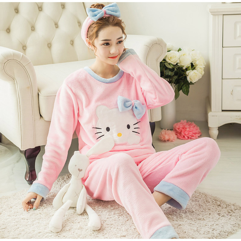 Women's Flannel Coral Velvet Print Warm   Pajamas     Sets   Cartoon Sweet Girls Soft Women Pants Trouses 2018 Autumn Winter Female Tops