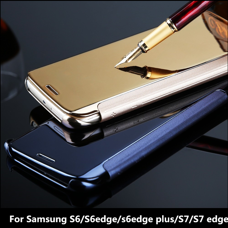 For Samsung S7 edge S6 edge plus Hybrid Leather +Hard Plastic Flip Plating Case Smart View Clear Mirror Screen back Cover case