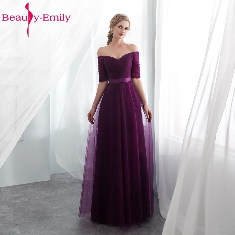 Sexy Purple Bridesmaid Dresses  A-line Wedding Party Prom Dressesvestido De Festa Longo Lace Up Party Dresses