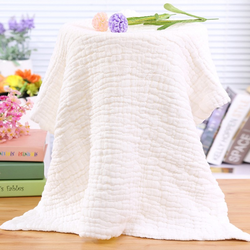 95*95cm Pure White  No Fluorescent Agent 6 Layer Washing Cotton Baby Towel Blanket Super Soft Gauze Bath Towel Comfort Blanket