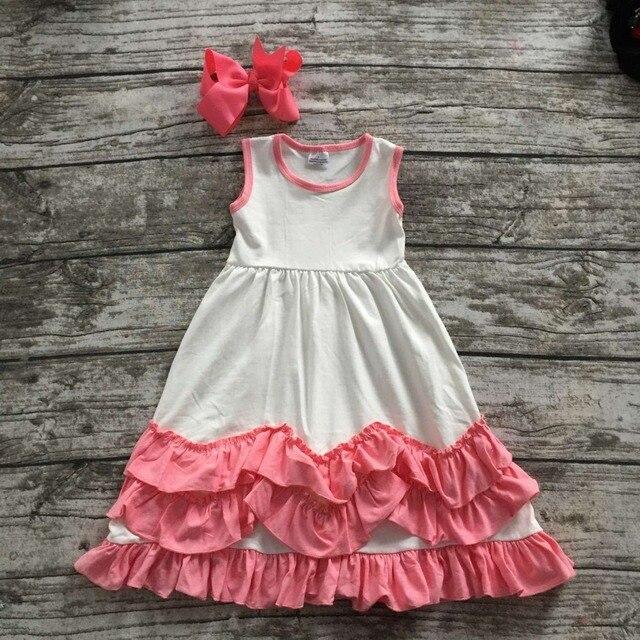 2016 новых детская одежда девочек летом горячее надувательство рукавов платье принцессы белый розовый дети бутик одежды оборками с луком комплект