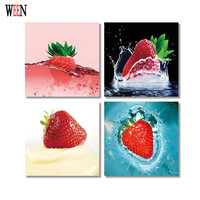 WEEN HD Fruit Wall Picture Framed Directly Hang For Living Room 4Pc Strawberry Art Tableau Peinture