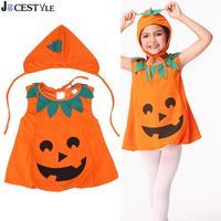 JOCESTYLE Cute Halloween Costume Kids Pumpkin Outfit Clothes For Halloween Party Dress Hat Kids Children School