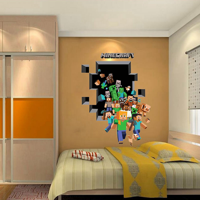 2017 new minecraft 3d wall sticker for kids room wallpaper