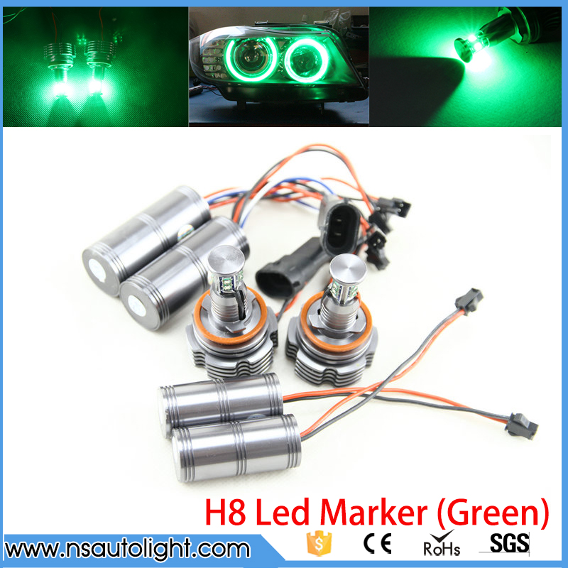 40W LED Angel Eyes H8 Marker CREE LED Chips Green for BMW E92 E63 E64 E81 E82 E87 E88 E90 E91 E93 h8 20w cree angel eyes led marker light drl for bmw e82 e87 e90 e91 e92 m3 e93 e60 e61 e63 e64 e70 x5 e71 x6 e89 z4 king deluxe