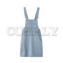 CUERLY women casual denim suspender mini dress side button pockets design faldas mujer female stylish dresses цена