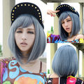 Short wigs for women Cosplay blue wig Light cool grey Straight Bob hair Full wig