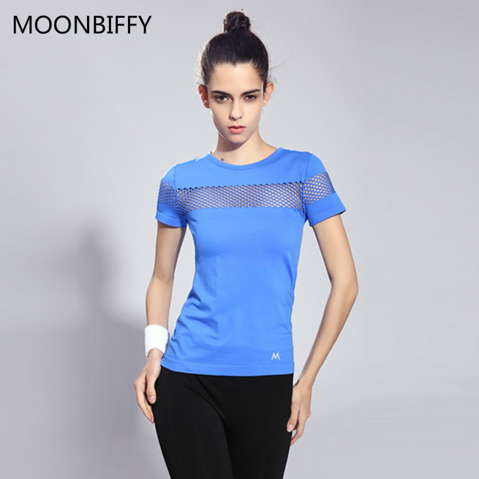 Summer Style Fitness Women Sports T-shirt Running Short Sleeve Quick Dry Breathable Gym Sexy Hollow Nylon Sportswear Tops