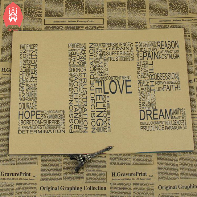 Home Decor Print Letter Poster Retro Life Quote Posters Wall Stickers  42*30cm