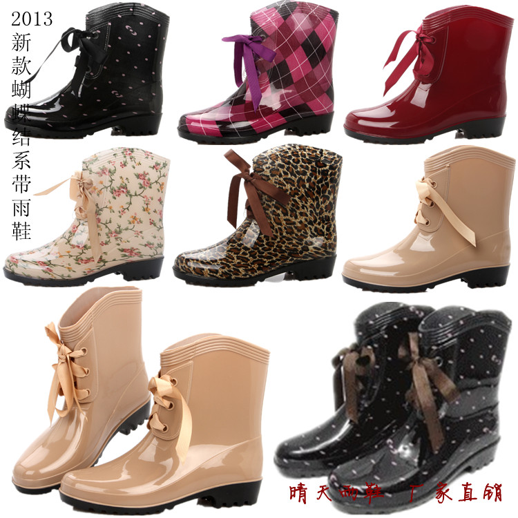 Aliexpress.com : Buy New Women's galoshes Cute Short Bow Bowknot ...