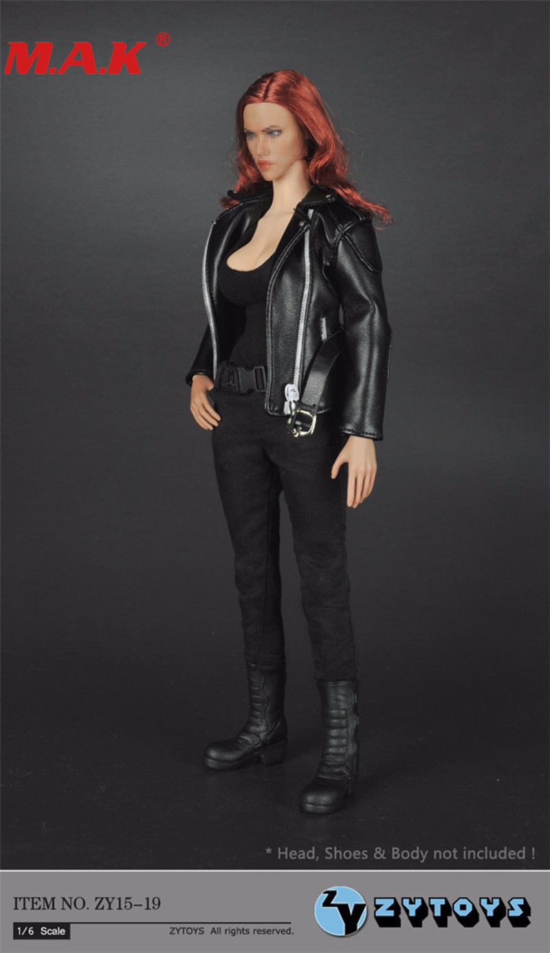 1/6 scale female girl woman clothes T-800 women young lady black leather jacket ZY15-19 for 12 action figure toys accessories 1 6 scale phicen figure accessory black school uniform set students suit clothes fit 12 action figure doll toys zytoys zy15 30