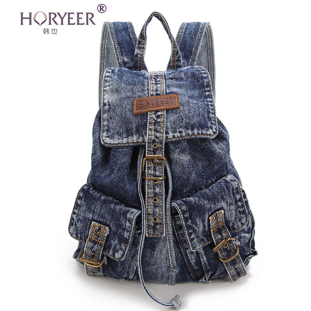 horyeer jeans femmes sac dos denim sacs dos pour adolescente filles casual sacs d 39 cole sac. Black Bedroom Furniture Sets. Home Design Ideas