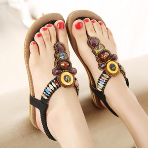 Image 4 - BEYARNE Woman Sandals Bead Bohemian Clip Toe Comfortable Thong Shoes Boho Elastic Band Back Strap Flat Beach Shoes Plus Size 41