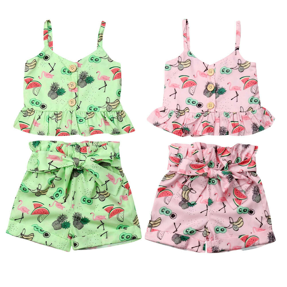 US Fashion Kids Toddler Baby Girls Vest Crop Tops Short Pants Outfits Clothes