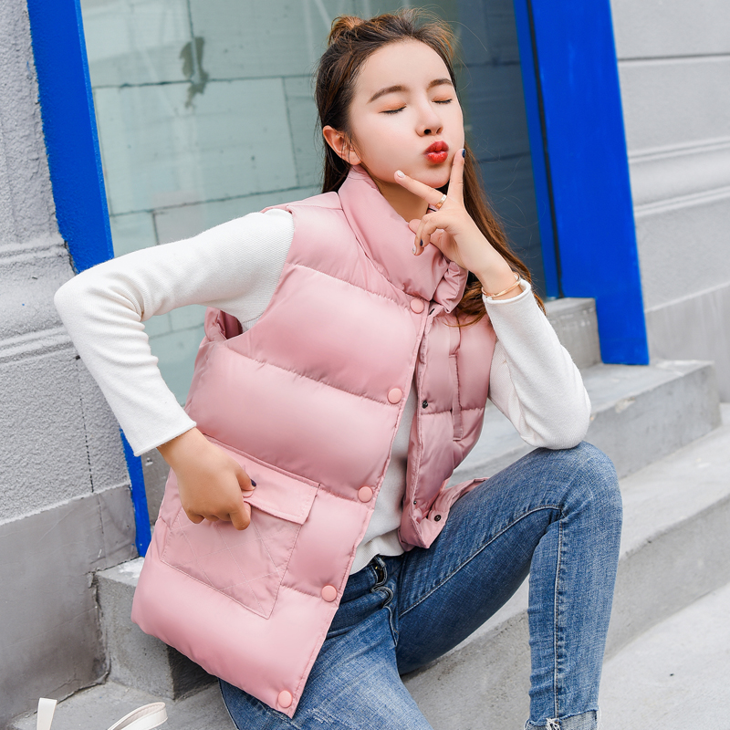 Kpop Harajuku New 2018 Autumn Winter Women Cotton Vest Duck Down Soft Warm Waistcoat Plus Size Female Outwear Brand Vest Coat