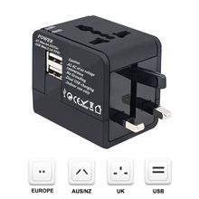 ABKT-дорожный адаптер, по всему миру все в одном дорожная розетка Универсальный штекер конвертер с двумя usb зарядными портами AC power Plug Wa