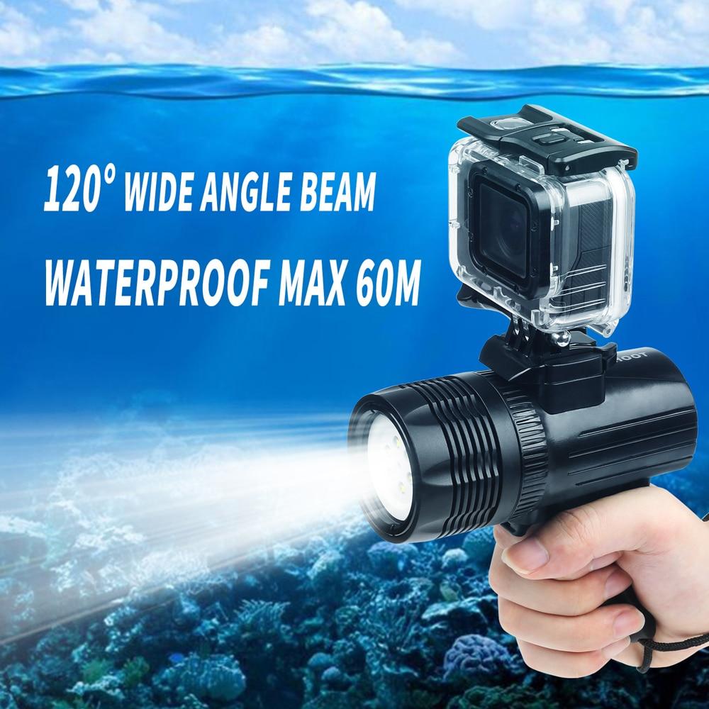 SHOOT 1500LM անջրանցիկ LED սուզվող լույս Gopro Hero- ի համար 8 7 6 5 Սև 4 H9 Sjcam ստորջրյա լապտեր Yi Lite 4K + աքսեսուարի համար