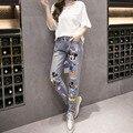 Cute Cartoon Design Print Loose Jeans American Apparel Women Jeans Plus Size Pantalones Vaqueros Rotos Mujer Boyfriend Jeans