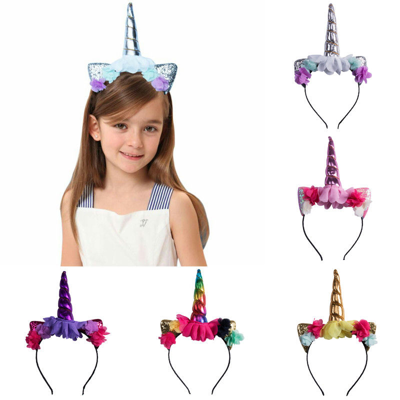 Unicorn Horn Head Party Hair Headband Fancy Dress Rainbow We Love