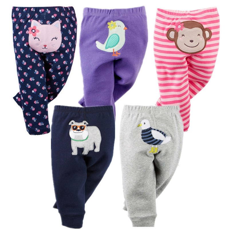 5PCS Unisex Cotton Baby Pants Spring Autumn Cartoon Baby Boy Clothes Newborn Bebe Trousers Infant Clothing Toddler Girl Leggings