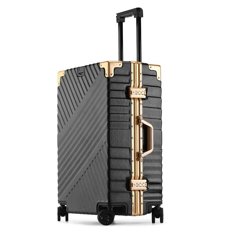 LeTrend  High Capacity Creative Rolling Luggage Spinner Suitcase Wheels 20 Inch Black Cabin Trolley Aluminum Frame Travel Bag