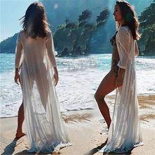Beachwear Swim suit Cover up Playa Pareo Tunics for Beach Kimono Swimwear Women Lace Dress