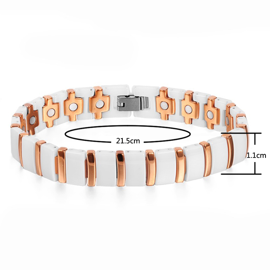 Image 2 - WelMag Magnet Bracelet Ceramic Rose Gold Charm Bracelets Bangles Accessories for Women Fashion Magnetic Health Care Wristband-in Charm Bracelets from Jewelry & Accessories