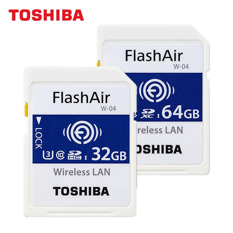 TOSHIBA Wireless Wifi Card W-04 FlashAir SD Memory Card 64G SDXC UHS-I 32GB SDHC U3 Class10 Read 90MB/s 4K For SLR Camera цена