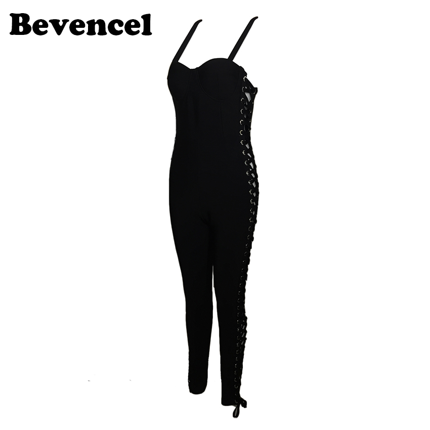 2017 new summer jumpsuits black spaghetti strap hollow out full length bandage jumpsuit