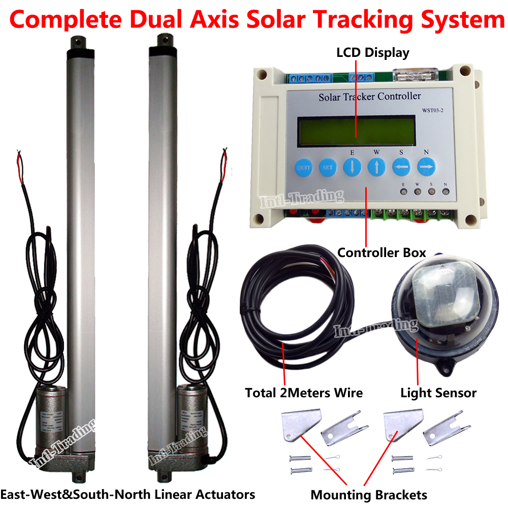 Dc 12v Complete Dual Axis Solar Tracker Tracking System Kits 2pcs Linear Actuator Wiring Diagram 18 Actuators Electric Controller Lcd Display In Motor From Home