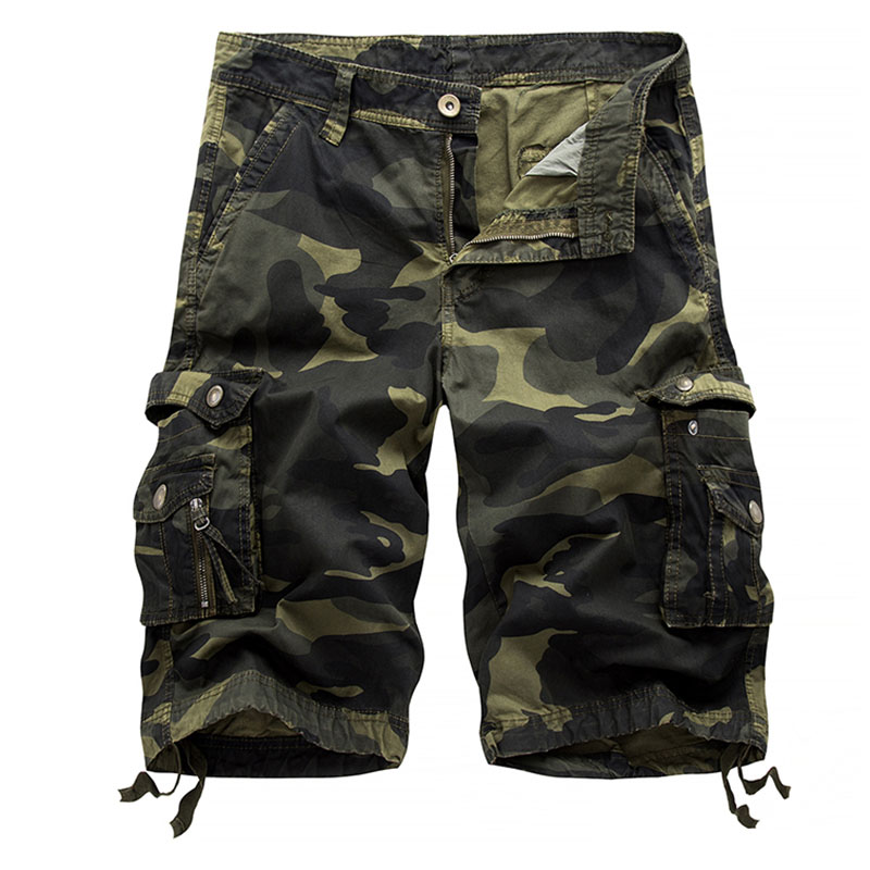 BBYES 2018 New Summer Plus Size 30-38 Casual Mens Military Pockets Camouflage Shorts Male Cuffs Como Cargo Combat Shorts