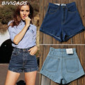 New 2016 Fashion Womens Hemming Vintage High Waisted Shorts Jeans Sexy Slim Denim Shorts Bermudas Feminino Female Cintura Alta