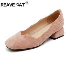 3627313c REAVE CAT 2019 nuevos Zapatos de Primavera de verano para mujer tacones  bajos Flock Boat Shoes