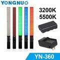 Yongnuo yn360 de mano llevó la luz de vídeo luz de relleno 3200 k/5500 k de colores rgb 39.5 cm palo o yongnuo yn360 + f550 batería + cargador