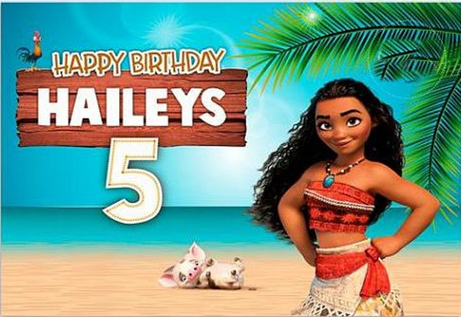 Custom Moana  Banner Beach backdrops polyester or Vinyl cloth High quality Computer print birthday  photo studio background|Background| |  - title=