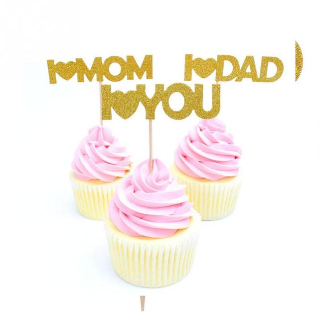 12Pieces Set I Love You Mom Dad Gold Paper Cupcake Toppers Mothers Fathers Day Happy Birthday Cakes Party Gifts Decor