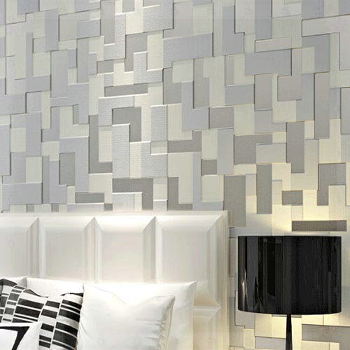Embossed D Stereoscopic Mosaic Wallpaper Bedroom Modern Tv Background Wall Paper Non Woven Grey Copper
