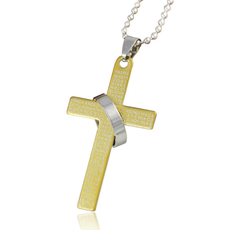 Silver color cross Bible pendant necklaces gold color Stainless Steel  bead chain necklace for men women  jewelry wholesale