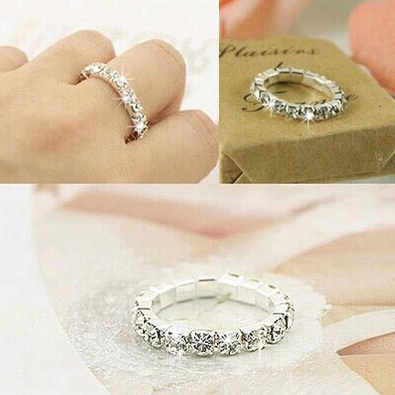 2018 Korean Bright Silver Plated Elastic Cubic Zirconia Rings Shining Full Crystal Rhinestone Finger Rings for Women Jewelry