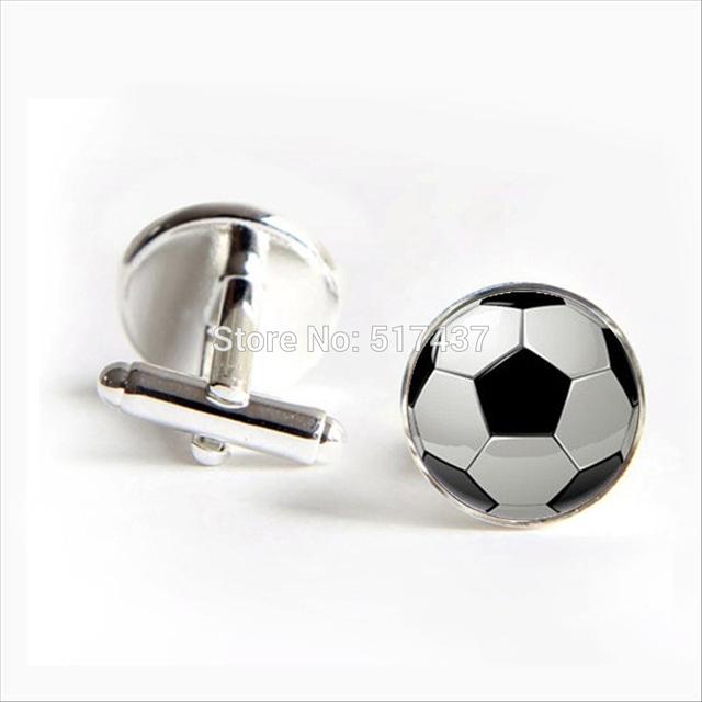 Hzshinling Soccer Cufflinks Football Cuff Link Round Glass Cufflink Shirt Mens