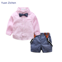 Summer New 2Pcs Toddler Baby Boy Clothes Solid Long Sleeve T Shirt Suspender Pant Kid Gentleman