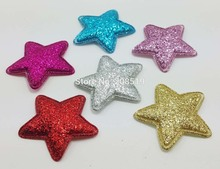 PA0054 Padded shiny Felt Christmas Star 34mm 120pcs/lot Mix 6 colors Appliques for Bows Hair accessories