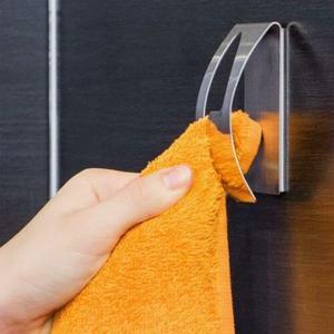 Image 2 - New Self Adhesive Home Kitchen Wall Door Stainless Steel Towel Holder Hook Hanger