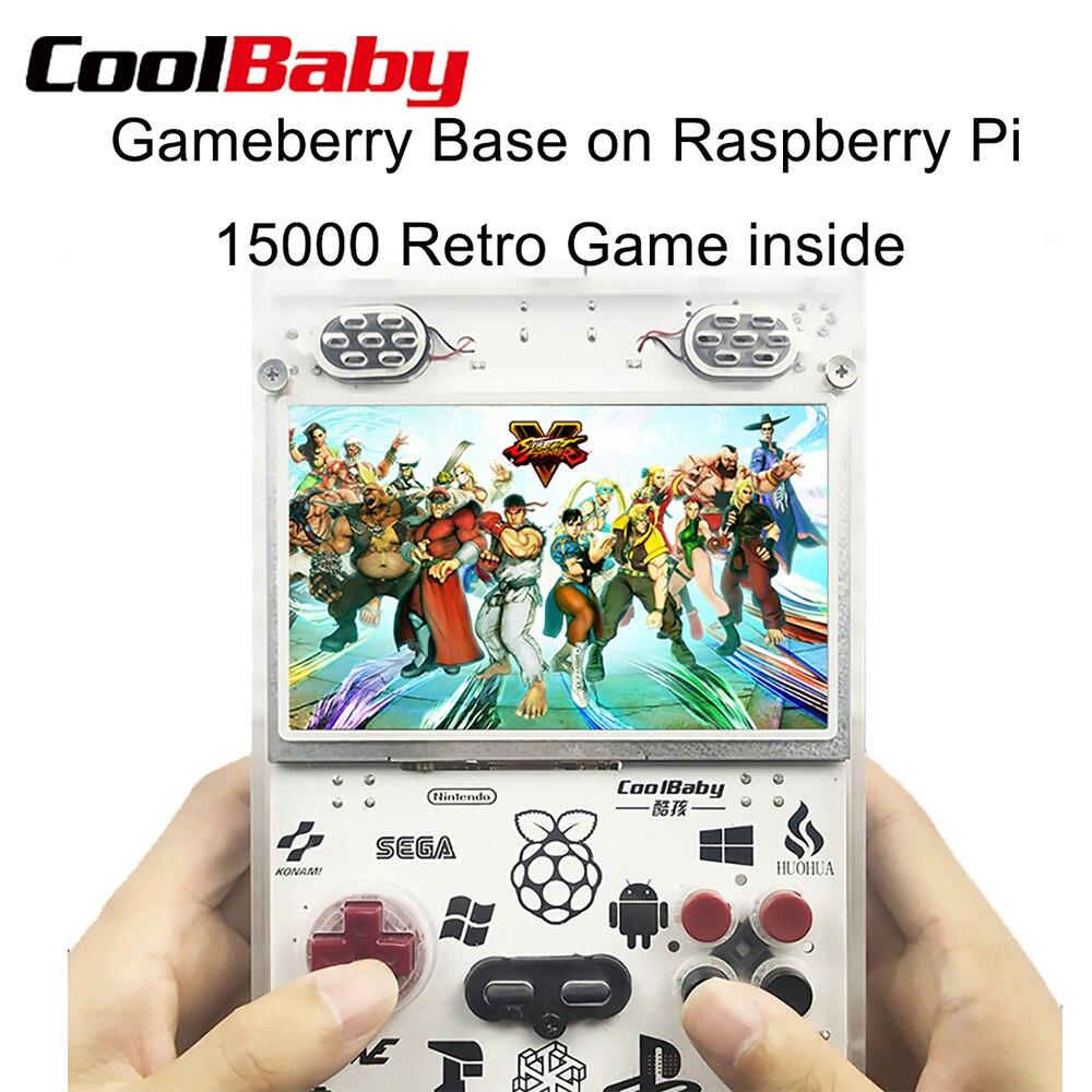 COOLBABY 5.0 pouces Console de poche jeu Gameberry Retropie Lakka Pie framboise Pi 15000 jeu rétro à l'intérieur 10000mA batterie